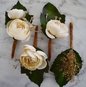 Handmade Set of 4 Faux Ivory & Gold Boutonnieres